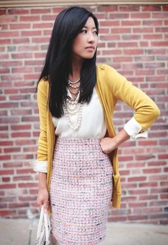 skirt tweed pink pencils