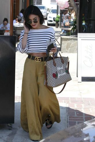 pants wide-leg pants vanessa hudgens crop tops cropped sweater stripes purse sunglasses sweater