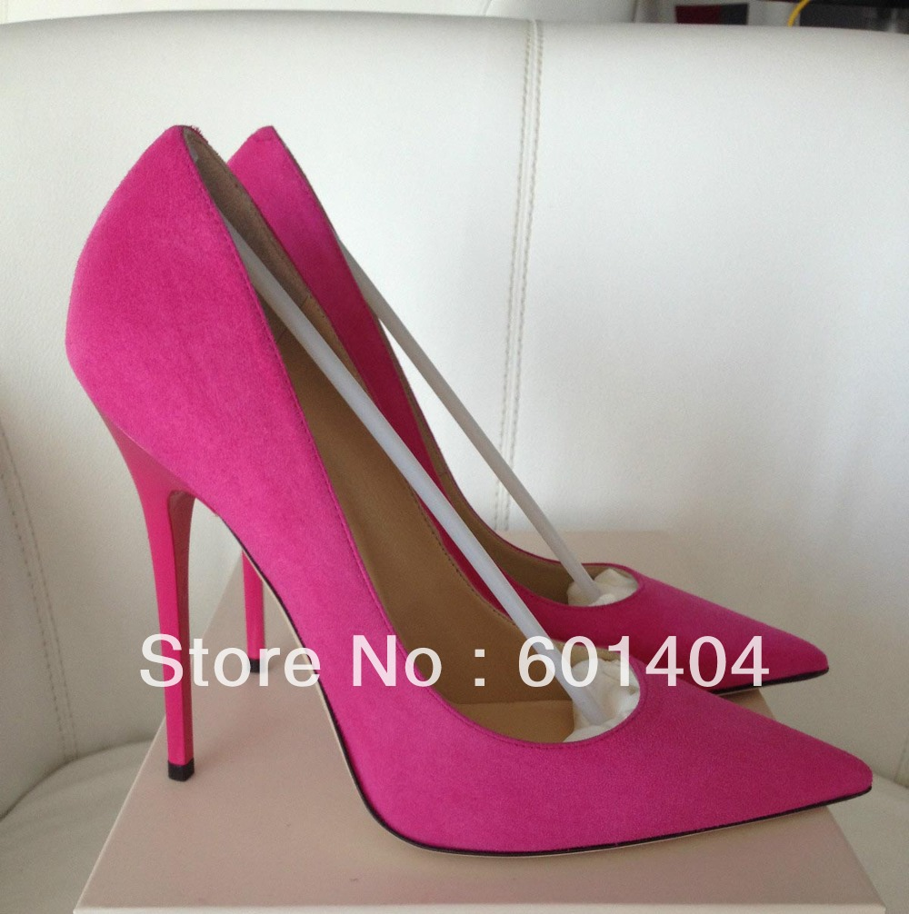 Free shipping Nouk Hot Pink Fuchsia Suede Leather Pump Shoes Pointed Toe High Heel Women Dress Shoes-in Pumps from Shoes on Aliexpress.com