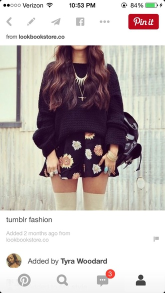 skirt black skirt skater skirt floral skirt sweater oversized sweater
