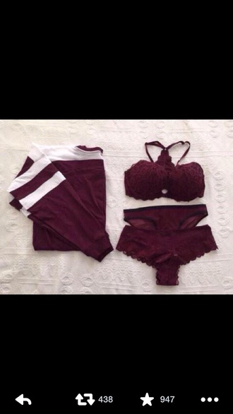 sweater burgundy sweater lingerie underwear bra stripes crewneck burgundy burgundy top panties lace lace lingerie lingerie set red red underwear tank top gloves shirt t-shirt sexy girly summer swimwear black and white plum sexy lingerie top crop jersey coat pink by victorias secret dark red lace bra victoria's secret