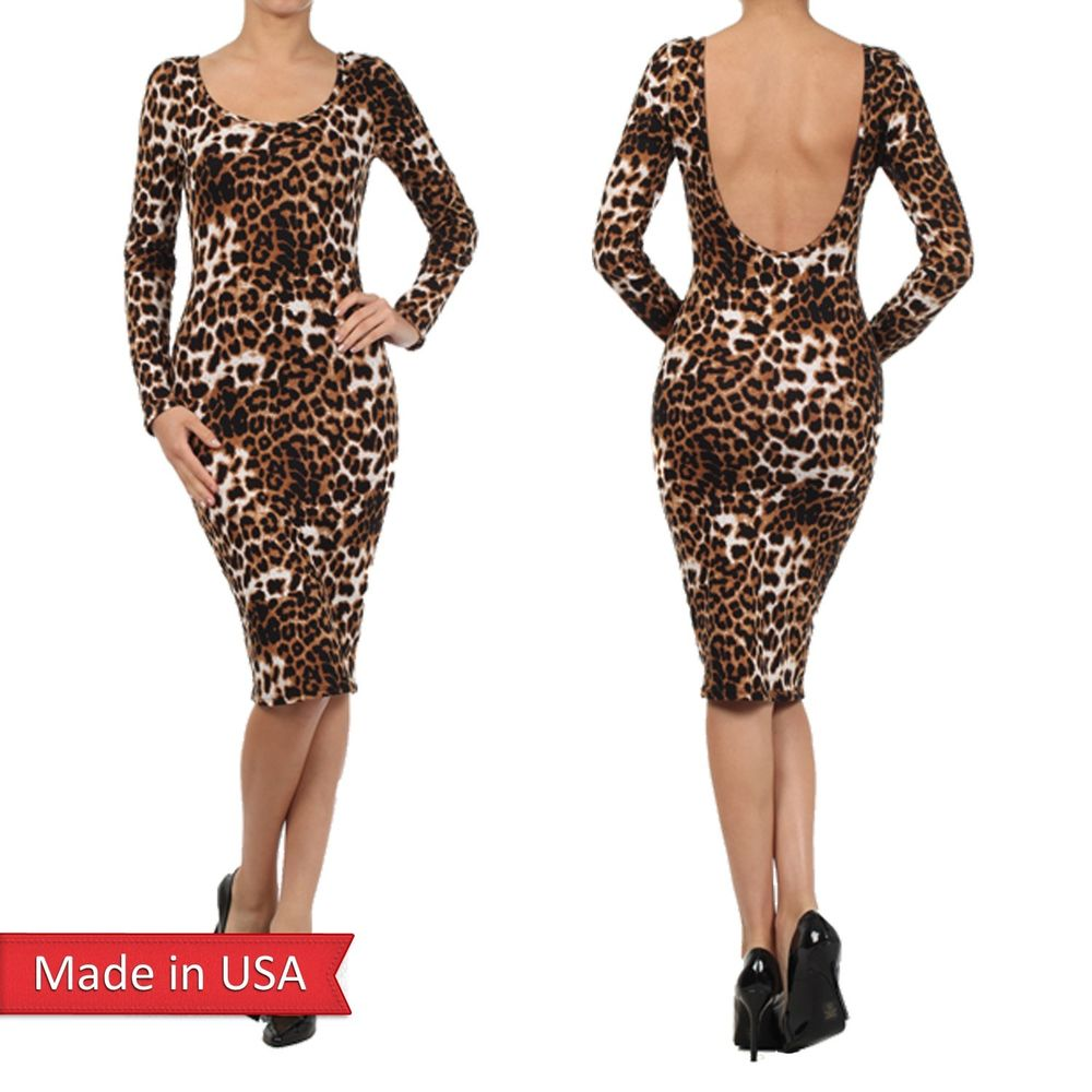 Women Sexy Animal Leopard Print Stretchy Cotton Bodycon Fitted Midi Dress USA