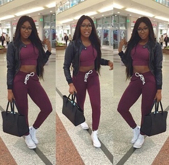 dope black girls killin it sweatpants leather jacket converse sneakers