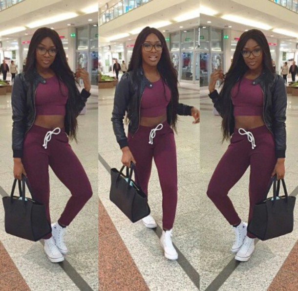 dope black girls killin it sweatpants leather jacket converse sneakers jumpsuit bag