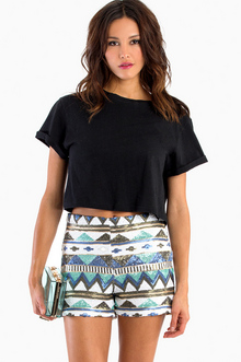 Aztec Sequin Shorts - TOBI
