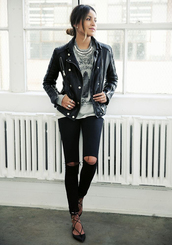 shoes,black leather jacket,black distressed jeans,lace up flats,blogger,grey graphic tee