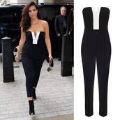 jumpsuit,kim kardashian,black,white