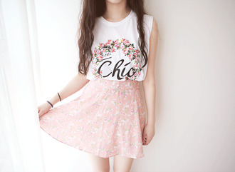 skirt blouse chic cute blouse ulzzang korean fashion cute kawaii cute outfits floral floral print blouse pastel colors pastel pink skirt pastel pink kawaii outfit chic blouse letters light pink flower skirt short skirt
