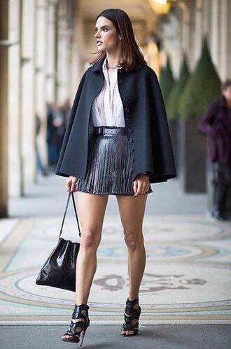 skirt belt leather model off-duty alessandra ambrosio streetstyle fashion week 2016 paris fashion week 2016 sandals blouse cape shoes