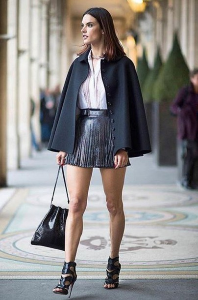 skirt belt leather model off-duty alessandra ambrosio streetstyle fashion week 2016 paris fashion week 2016 sandals blouse cape shoes