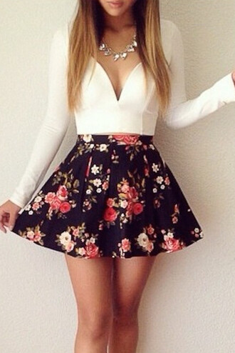 top cute crop tops long sleeve crop top long sleeves white v neck v neck top blouse skirt white top floral skirt