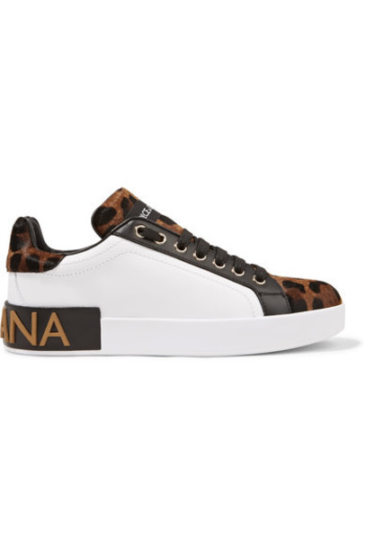 Dolce & Gabbana hair sneakers leather print leopard print shoes