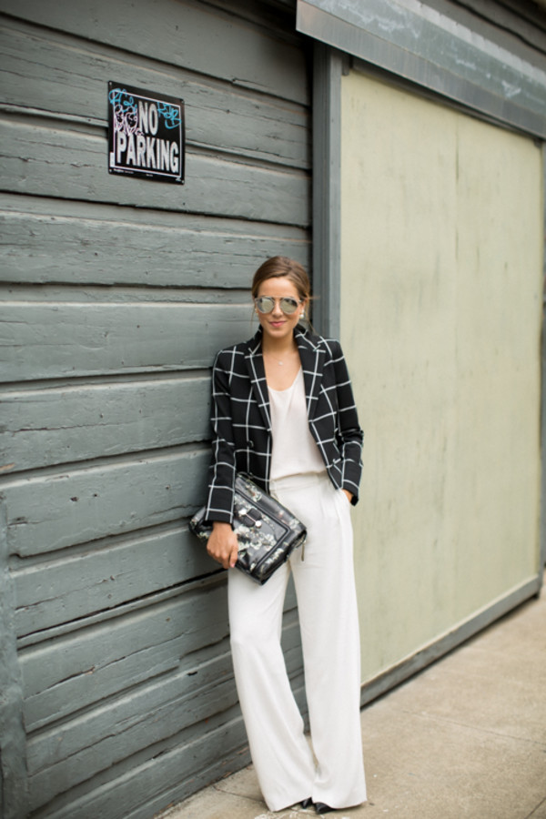 gal meets glam blogger jacket bag sunglasses jewels pants tank top
