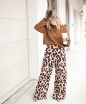 pants,wide-leg pants,leopard print,printed pants,sandals,sweater,knitted sweater,starbucks coffee