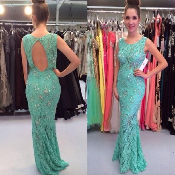 dress, green lace evening dresses, formal long party dresses ...