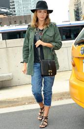 jacket,jessica alba,sandals,shirt,blouse,shoes,hat