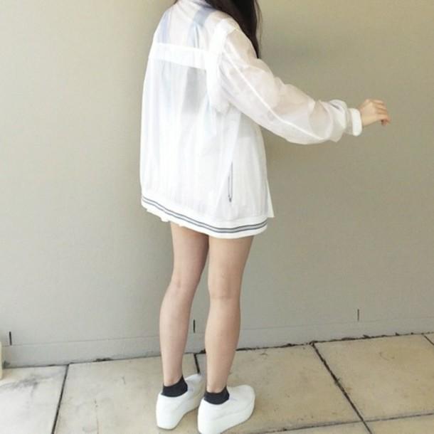 jacket white women school girl cool grunge