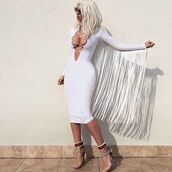 dress,white dress,jelena karleusa,shoes,tassel,plunge v neck,lace up,blonde hair,platinum hair,cleavage,long sleeves,midi dress,bodycon dress,knee length dress,lace up heels,black heels,jelenakarleusa,fringes,fringed dress,white,long sleeve dress,bodycon,lace up dress,plunge neckline,plunge dress,fringeds,party dress,sexy party dresses,sexy,sexy dress,party outfits,sexy outfit,summer dress,summer outfits,spring dress,spring outfits,fall dress,fall outfits,winter dress,winter outfits,classy dress,elegant dress,cocktail dress,cute dress,girly dress,date outfit,birthday dress,clubwear,club dress,graduation dress,prom dress,short prom dress,homecoming,homecoming dress,wedding clothes,wedding guest,pool party