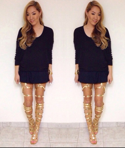 2014 sexy open toe flats heel gladiator thigh high boots sandals gold leather strappy sandal plus size women shoe-in Boots from Shoes on Aliexpress.com