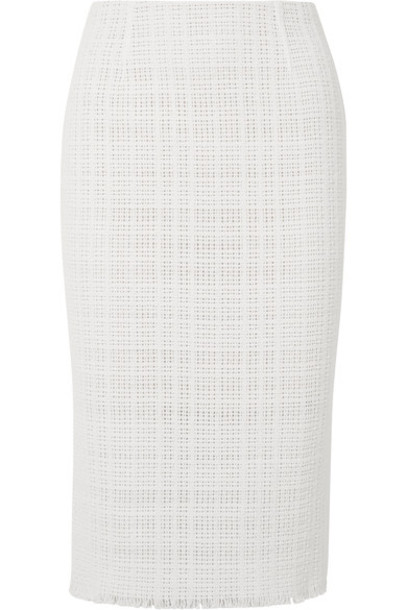 Roland Mouret skirt pencil skirt white cotton knit crochet