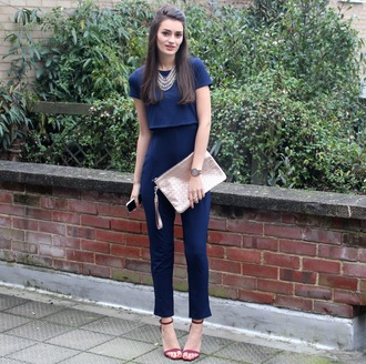 peexo blogger jumpsuit navy pouch crop tops sandals