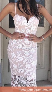 dress,lace dress,pink dress,white dress,prom dress,midi dress