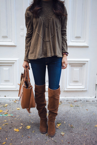 97f04b887b7 shoes tumblr boots brown boots over the knee boots suede suede boots bag  brown bag denim