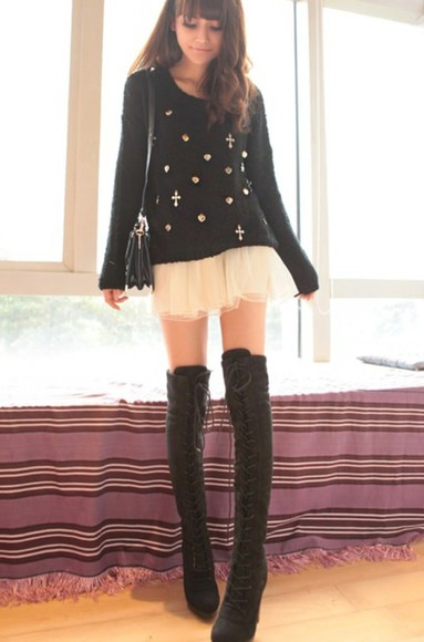 skirt black shoes lace sweater cross bag white gems boots