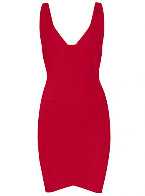 Sexy V-neck Bandage Dress Red H148R $99