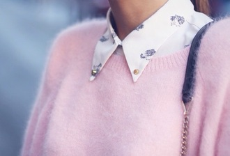 blouse peter pan collar collar classy baby pink white roses fluffy