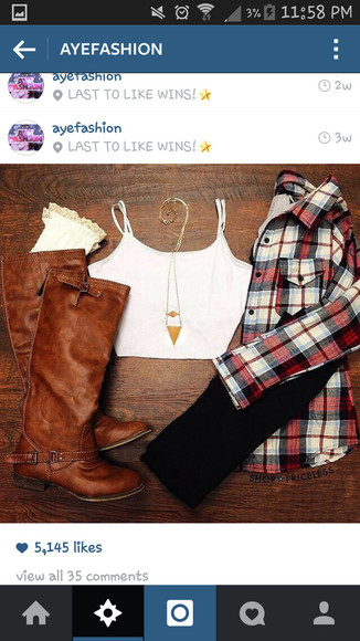 flannel shirt fall outfits brown leather boots