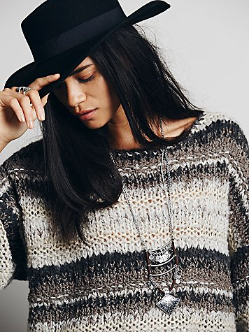 Free People Wool Slouchy Stripe Pullover