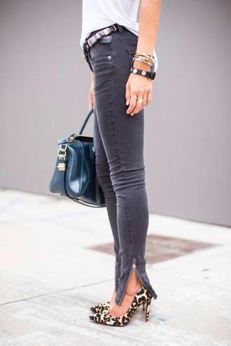 jeans bottom grey dark zip