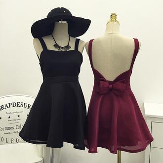 dress cute kawaii black bow fashion style burgundy sweet princess bowknot condole belt dress skirt suspenders girly