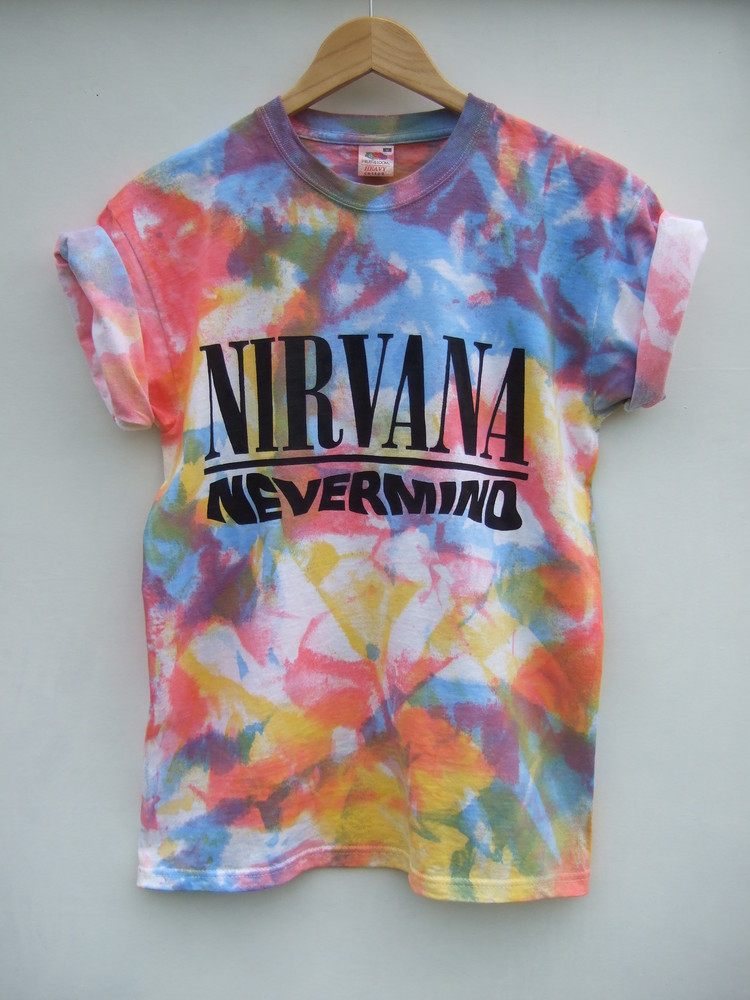 Tappington and wish — nirvana nevermind red/yellow/blue multi tie dye shirt