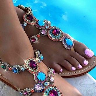 shoes sandals rhinestones sandals jeweled sandals flat sandals rhinestones