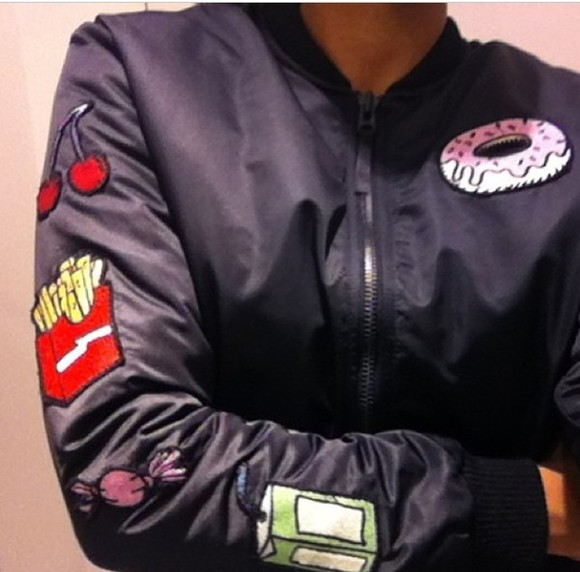 donut jacket bomber jacket fries,