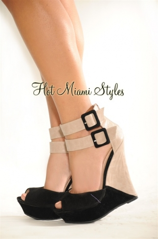 Block ankle buckled straps wedge sandals