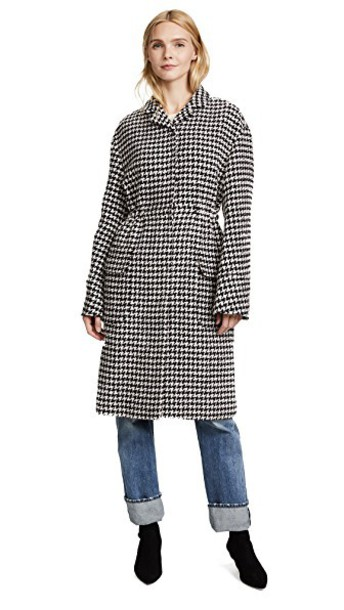 GIAMBATTISTA VALLI coat long houndstooth pink