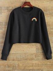 sweater,black,fashion,style,trendy,long sleeves,rainbow,zaful