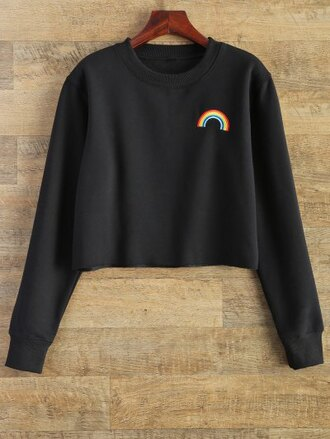 sweater black fashion style trendy long sleeves rainbow zaful