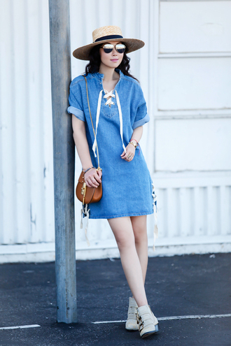 fit fab fun mom blogger dress shoes hat bag sunglasses jewels susanna boots white boots ankle boots straw hat mirrored sunglasses brown bag denim dress mini dress lace up