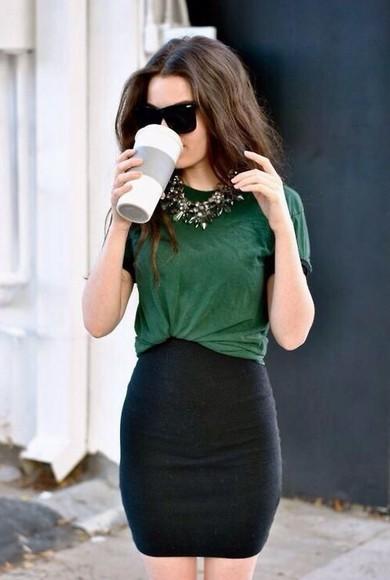 black skirt black pencil skirt green top baggy top