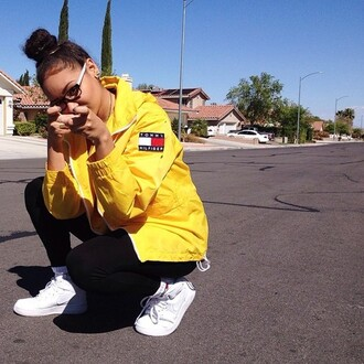 jacket tommy hilfiger nike jeans vintage sunglasses socks coat shoes high4this mayleen yellow mixed girl windbreaker