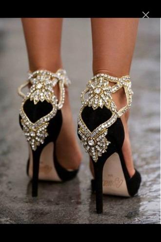 shoes heels high heels formal black heels gold jewels fancy heels formal heels