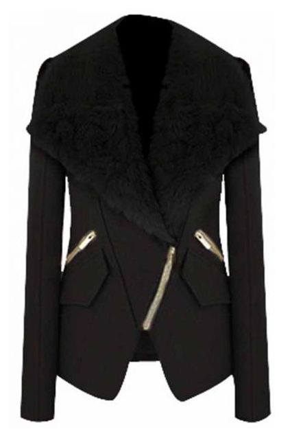 ROMWE | ROMWE Faux Fur Lapel Zippered Black Coat, The Latest Street Fashion