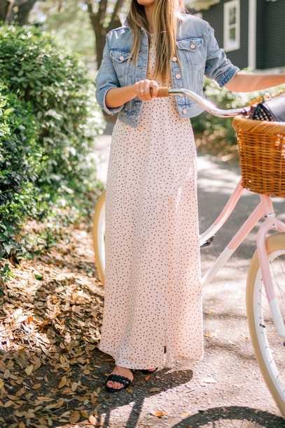 c29c2599ec dress tumblr white dress polka dots maxi dress long dress denim denim jacket  blue jacket sandals