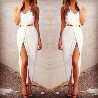 grecian grecian dress white dress slit dress glamour