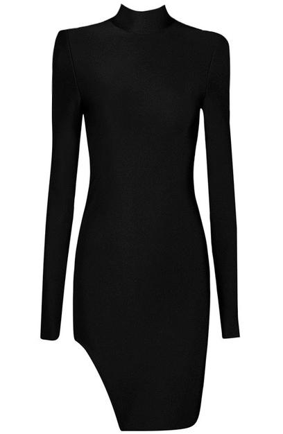 Long Sleeve High Neck Slit Bandage Dress Black