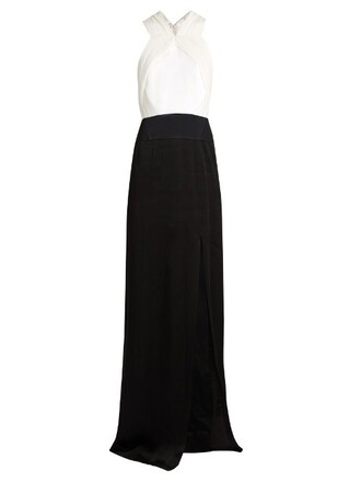 gown pleated satin white black dress